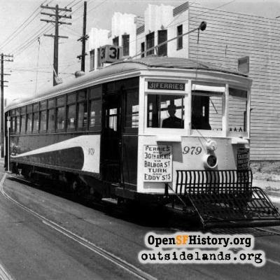 31 Balboa streetcar at 30th Avenue, early 1940s.