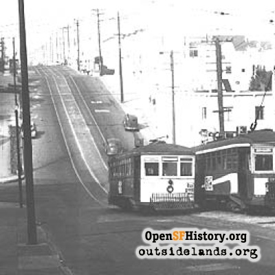 31 Balboa Streetcars at 23rd Avenue, 1948.