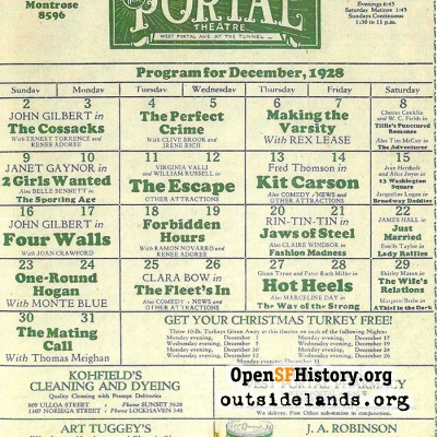 Portal-Empire Theater Playbill, 1928