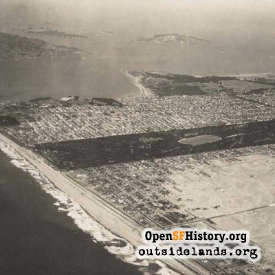 Aerial of west San Francisco, 1920s?