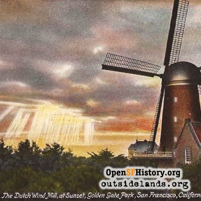 Dutch Windmill at Sunset postcard