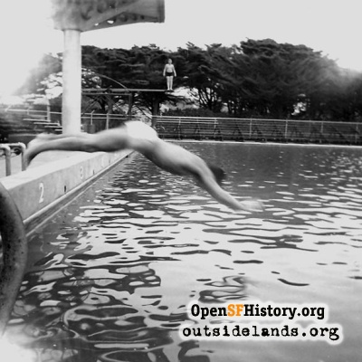 Diver at Fleishhacker Pool, 1960s?