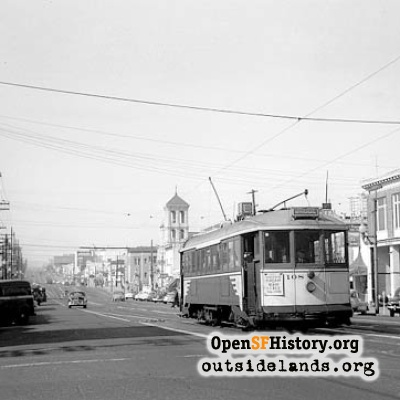 Geary Boulevard at 21st Avenue, 1952
