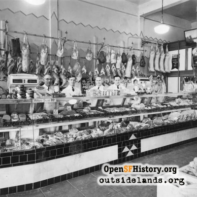 Butcher Counter at Stadium Market, 1936.