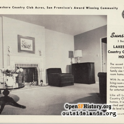 Interior of Country Club Acres house, 1950s