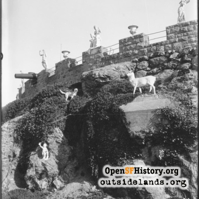 Sutro Heights. Statues on rock wall below parapet