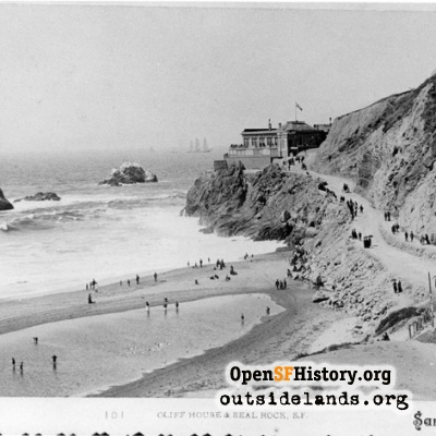 First Cliff House and Seal Rocks from Ocean Beach Pavilion