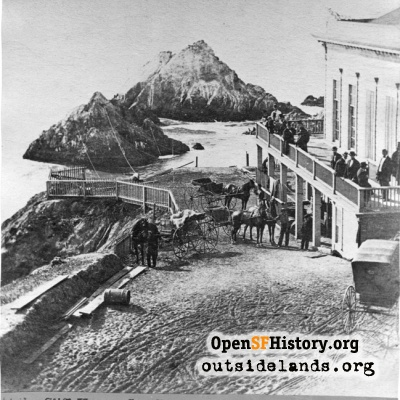 First Cliff House. View west towards Seal Rocks from Cliff Road
