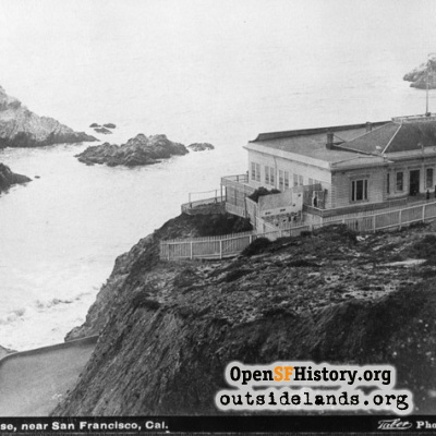 First Cliff house and Seal Rocks from future Sutro Heights