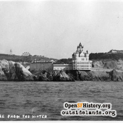 Second Cliff House and Sutro Heights, viewed northeast from offshore