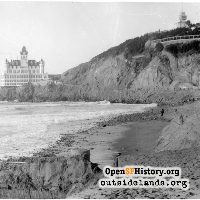 Second Cliff House and Sutro Heights from Ocean Beach