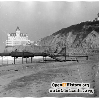 Second Cliff House and Sutro Height from Ocean Beach