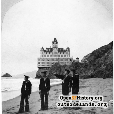 Second Cliff House. Four sailors on beach south of Cliff House