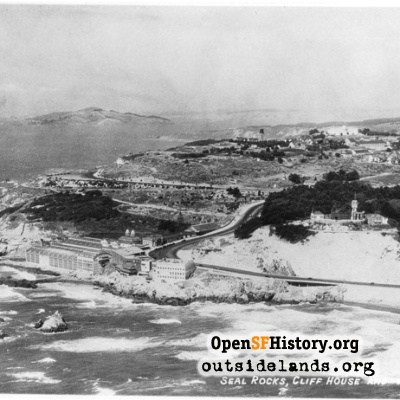 Aerial view of Cliff House, Sutro Baths and Lands End