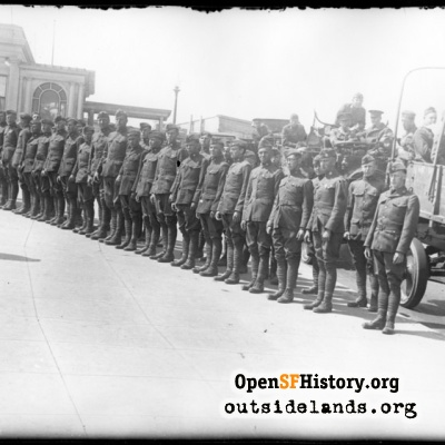 Third Cliff House. Soldiers lined up on sidewalk south of CH