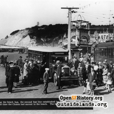 Playland at the Beach. MUNI bus parked at foot of Cabrillo