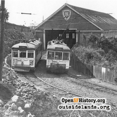 Sutro Baths. Streetcars outside depot on Point Lobos Ave.