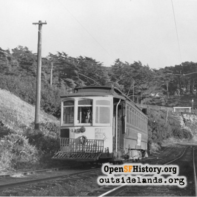Sutro Baths. Streetcar on private right-of-way below Merrie Way