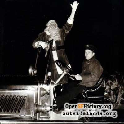Santa on Fire Engine on 18th Avenue, 1950