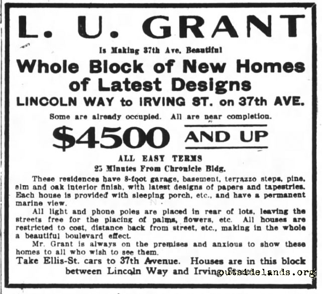 L.U. Grant ad for 37th ave homes