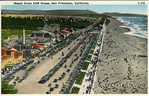Playland and Beach postcard
