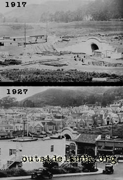 Twin Peaks Tunnel 1917 and 1927