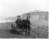 Ocean Beach. Horse and buggy on beach below first Cliff House